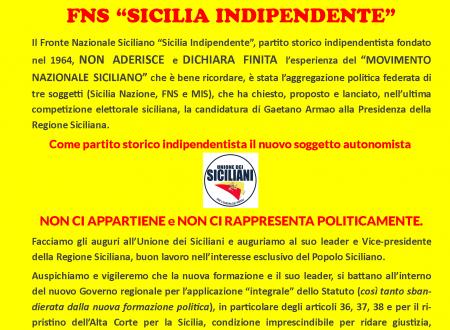 KUMMUNIKATU STAMPA FNS:  Non aderiamo all'Unione dei Siciliani di Gaetano Armao!
