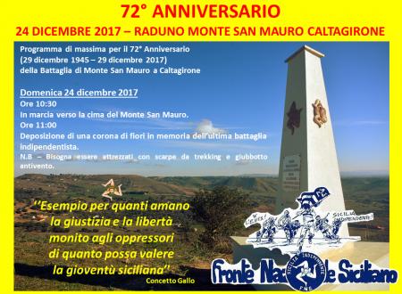 72° anniversario della Battaglia di Monte San Mauro a Caltagirone (29 dicembre 1945 – 29 dicembre 2017)