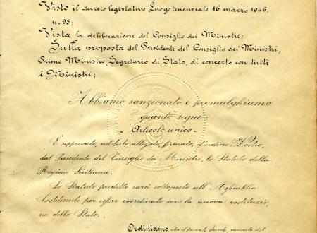 """72° ANNIVERSARIO DELLO """"STATUTO SPECIALE DI AUTONOMIA PER LA REGIONE SICILIANA"""""""